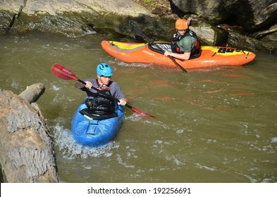 GREAT FALLS,MD-MAY 11: Kayakig at Great Falls Park on MAY 11, 2014 in Maryland USA.Famous Chesapeake and Ohio Canal, C&O Canal, about 184.5 miles,people visit ,and do many outdoors activities.