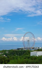 A great Ferris wheel under the blue sky at Awaji Servise area in Hyogo, Japan