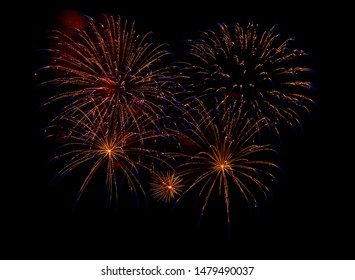 A great fireworks against black background in the night.