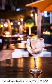 Great Gin Tonic in a night pub.