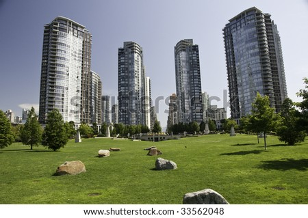 Great green space within the highrise condos for the general public.Vancouver , British Columbia