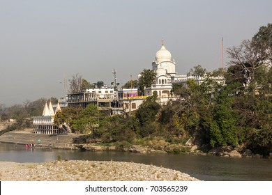 The great Gurudwara, or temple of the Sikhs, at Paonta Sahib, India, at the bank of the river Yamuna. It is a Sikh pigrimage destination.