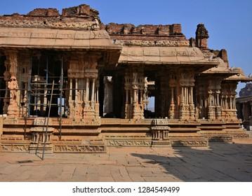 """Great Hall or 1000 pillared hall or Musical hall of Vitthala temple, Hampi, Karnataka, South India"""