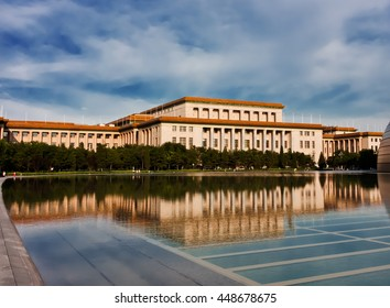 Great Hall of the People reflection in water, Beijing, China