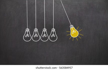 Great Idea. Creativity Concept with light bulbs on chalkboard background