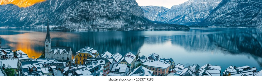 A great incredible panorama of the hill village of Hallstatt on Lake Hallstattersee. Austria
