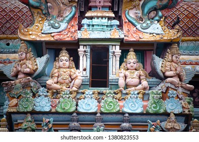 Great Indian architecture and religious art. Gods pantheon at Temple Gopuram (tower) facade Ancient colorful statues of Mahabharata Heroes South India