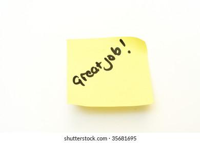 great job written on a yellow post it note