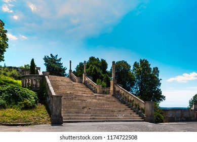 Great Kalemegdan Park and Fortress, view to Great Stairs of Kalemegdan Park leeding to the Sava Promenade on the southern edge of the fortress