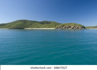 Great Keppel Island, Queensland , Australia is a beautiful tropical island with numerous beaches and resorts lying off the Capricorn Coast , view from the sea