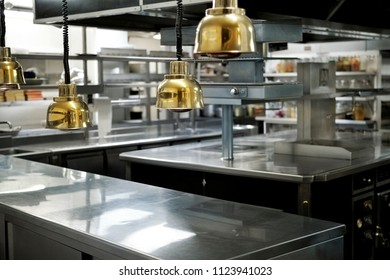 Great kitchen in a French restaurant after service