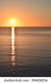 Great Lakes Early Morning Sunrise over Lake Superior Portrait Orientation Copyspace