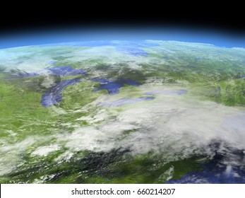 Great lakes from Earth's orbit in space. 3D illustration with detailed planet surface. Elements of this image furnished by NASA.