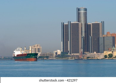 Great Lakes Freighter and Detroit Renaissance Center