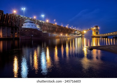 Great Lakes Freighter at port in Marquette, Michigan