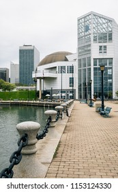 The Great Lakes Science Center and Harbor Walkway in Cleveland, Ohio