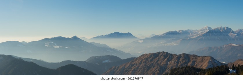 Great landscape on the Orobie Alps in winter dry season. Panorama from Monte Pora, Bergamasque Prealps Bergamo, Italy.
