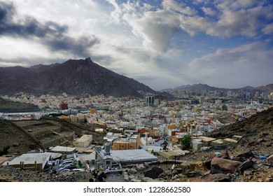 Great landscape shot of the city of Mekah from the middle part of Jabal Nur hiking trail. Soft focus effect due to large aperture setting