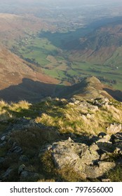 Great Langdale from the sumit of Harrison Stickle, one of the Langdale Pikes, in the Lake District, UK
