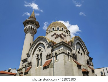 The Great Mahmudiye Mosque  built in 1910 by King Carol I, famous architecture and religious monument in Constanta, Romania