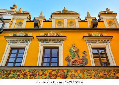 Great Market Square, Zamosc, Poland - September, 21, 2018: Multicolored, beautifully decorated facade of historic building on Great Market Square in historical centre of town Zamosc.