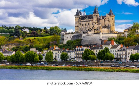 Great medieval castles of Loire valley - beautiful Saumur. France