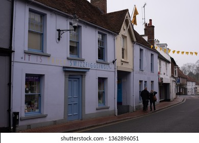 Great Missenden, Buckinghamshire/UK - April 07 2019: Roald Dahl Museum in Great Missenden on a grey day in spring. Museum dedicated to the popular children's author.
