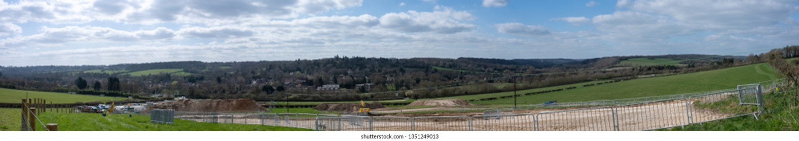 Great Missenden, Buckinghamshire/UK March 26 2019: Large panorama of High Speed 2 Rail project (HS2) south of Great Missenden, Buckinghamshire, construction works.