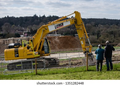 Great Missenden, Buckinghamshire/UK - March 26 2019: Various shots of construction phase of High Speed 2 (HS2) rail project south of Great Missenden. Controversial construction project in the UK.