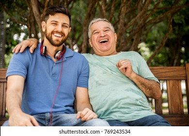 Great moment of a dad and son in the park