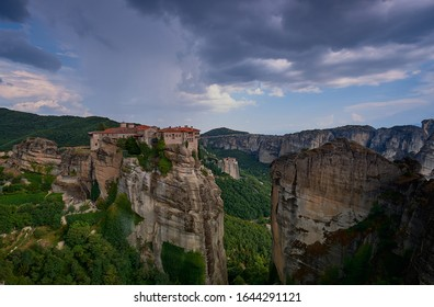 Great  Monastery of Varlaam at the complex of Meteora monasteries. Thessaly. Greece. UNESCO World Heritage List.