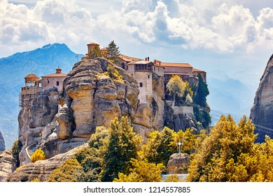 The Great Monastery of Varlaam on the high rock in Meteora, Meteora monasteries, Greece Kalambaka. UNESCO World Heritage
