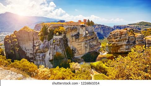 The Great Monastery of Varlaam on the high rock in Meteora, Meteora monasteries, Greece Kalambaka. UNESCO World Heritage