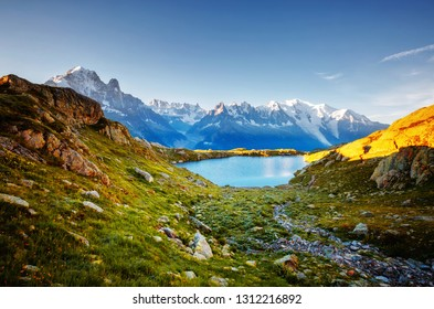 Great Mont Blanc glacier with Lac Blanc. Location place Chamonix famous resort, Aiguilles Rouges, Graian Alps, France, Europe. Scenic image of popular tourist attraction. Discover the beauty of earth.