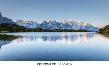 Great Mont Blanc glacier with Lac Blanc. Location Chamonix famous resort, Aiguilles Rouges, Graian Alps, France, Europe. Popular tourist attraction. Most beautiful place. Discover the beauty of earth.