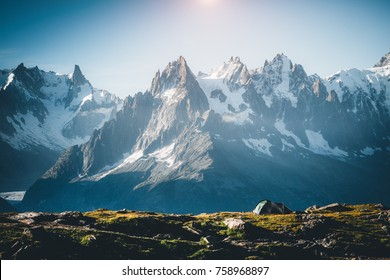 Great Mont Blanc glacier with Lac Blanc. Popular tourist attraction. Location Chamonix resort, Graian Alps, France, Europe. Scenic image of lifestyle hiking concept. Discover the beauty of earth.