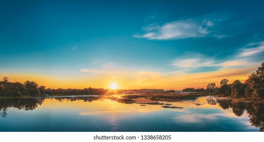 Great Morning. Beautiful Lake On Sunrise.