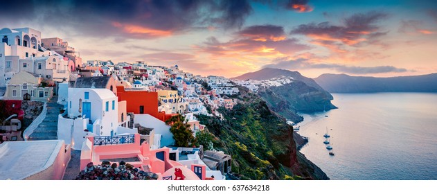 Great morning panorama of Santorini island. Picturesque spring sunrise on the famous Greek resort Oia, Greece, Europe. Traveling concept background. Artistic style post processed photo.