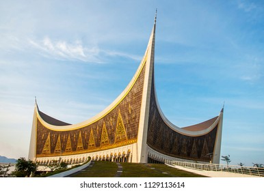 The Great Mosque of West Sumatera, the biggest mosque in West Sumatera, Indonesia, with a unique design and architecture that inspired by traditional house of West Sumateran people.