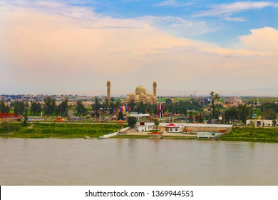 The Great Mosul Mosque (formerly the Saddam Mosque) is the largest Mosul Mosque in Iraq. It's on the east coast of the Tigris. Nineveh, Iraq. 03/23/2019