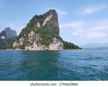 Great Mountain in Chew Lan Dam (Ratchaprapa Dam) at Khao Sok National Park, Surat Thani Province, Thailand
