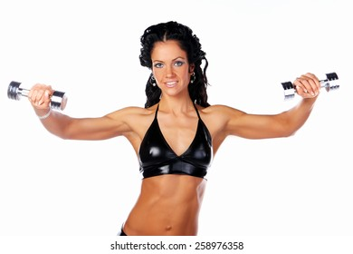 Great muscular female with dumbbell isolated on white
