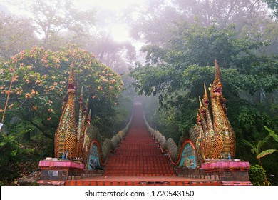 Great naga ladder. At Wat Phra That Doi Suthep. temple in Chiang Mai, Thailand. Age more than four hundred years old, there are 173 steps. foggy rainy day. Thai style dragon.