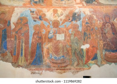 GREAT NOVGOROD, RUSSIA - APRIL 16, 2018: Depiction of Jesus Christ on the ancient fresco of the Znamensky Cathedral,