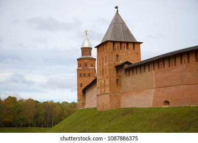 GREAT NOVGOROD, RUSSIA - OCTOBER 07, 2016: Two towers (Knyazhaya and Kokuy) Kremlin of Veliky Novgorod close up in the cloudy autumn afternoon