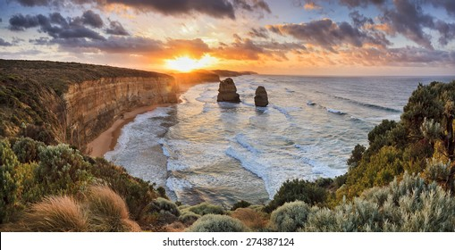 Great Ocean Road national park in VIctoria, Australia - at sunrise. Panoramic view from lookout towards 2 apostles