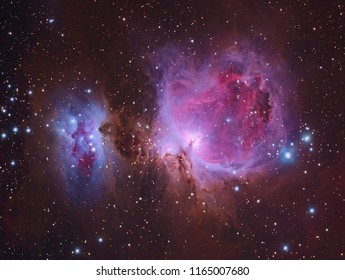 Great Orion Nebula M42 with Galaxy,Open Cluster,Globular Cluster, stars and space dust in the universe and Milky way taken by dedicated astrophotography camera on telescope.