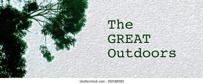 The Great Outdoors Text Tree Banner Illustration