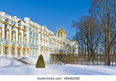 The Great  Palace of Tsarskoye Selo (the Catherine Palace). Pushkin near St.Petersburg, Russia