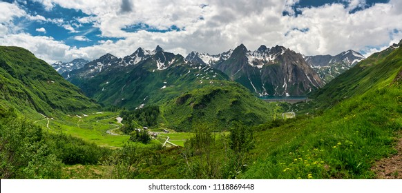 great panorama on the Formazza Valley in spring season with little village of Riale and Lake of Morasco, Piedmont - Italy